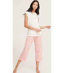 pijama camiseta manga corta screen pantalón capri estampado-l