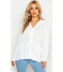 plus peplum blouse, white