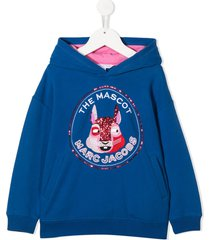 little marc jacobs the mascot sequin-embroidered hoodie - blue
