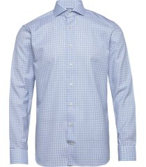 checked cotton-tencel shirt skjorta business blå eton
