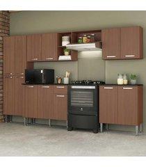 cozinha completa compacta c/ armário e balcão c/ tampo 5 pçs pequim jazz multimóveis carvalho avelã