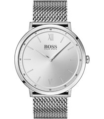 boss hugo boss men's essential ultra slim stainless steel mesh bracelet watch 40mm
