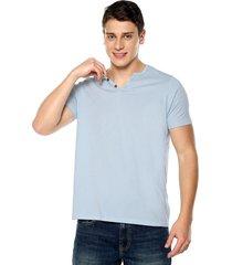 camiseta con botones de hombre-azul claro polovers