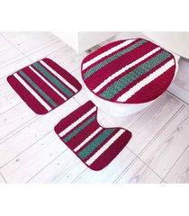 jogo de tapetes para banheiro tapetes junior onix pop em polipropileno bordô 3 peças