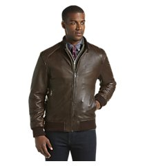 1905 collection tailored fit lambskin leather aviator bomber jacket - big & tall