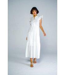 vestido adrissa en algodon con textura y faroles