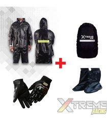 impermeable moto + guantes moto pro biker + forro maleta + zapatones