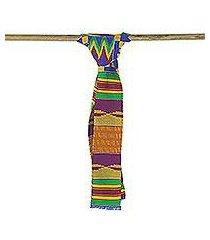cotton blend kente cloth scarf, 'fathia beauty' (4 inch width) (ghana)