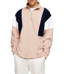 men's topman colorblock quarter zip sweatshirt, size large - pink