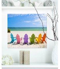 "designart 'adirondack beach chairs' seashore photo metal wall art - 20"" x 12"""