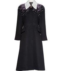 miu miu embellished a-line coat - black