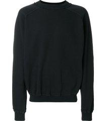 haider ackermann distressed neck line sweatshirt - black