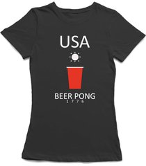"""""""usa beer pong 1776"""" red plastic beer cup graphic women's t-shirt"""