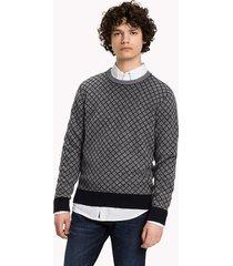 sweater gris tommy hilfiger two color arg jacquard c-nk
