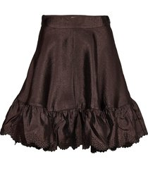 toy, 699 textured polyester knälång kjol brun stine goya