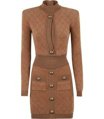 perforated diamond cutout knit dress