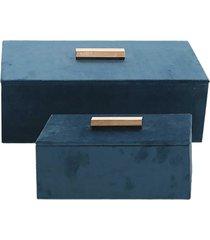 cj. de porta jóias de veludo azul e puxador dourado - 2pçs