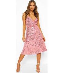 bridesmaid occasion sequin detail midi dress, desert rose