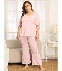 plus talla rosa ropa de dormir de manga corta traje de dos piezas