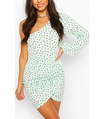 ditsy floral rib one shoulder mini dress, mint