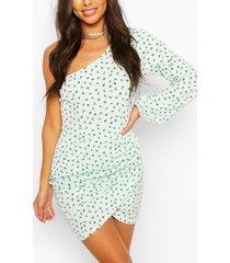 ditsy floral rib one shoulder mini dress, mint