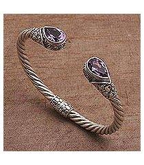 gold accent amethyst cuff bracelet, 'teardrop pebbles' (indonesia)