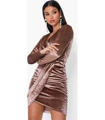 parisian velvet side rouched wrap skater dresses