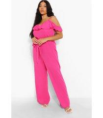 plus culotte jumpsuit met franjes en uitgesneden schouders, hot pink