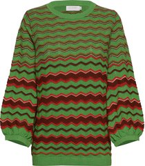 knit in multi color w. volume sleev gebreide trui groen coster copenhagen