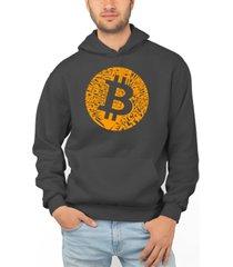 la pop art men's bitcoin word art hooded sweatshirt