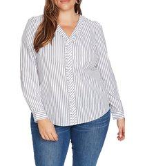 plus size women's court & rowe ruffle trim stripe blouse, size 1x - white