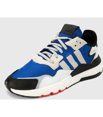 tenis lifestyle azul-negro-blanco adidas originals nite jogger