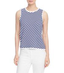 women's anne klein diagonal stripe sweater tank, size large - white