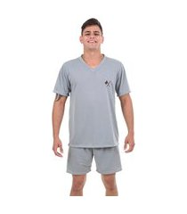 pijama masculino ayron manga curta 082 liso detalhe bordado