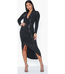 ax paris v neck long sleeve glitter midi dress paljettklänningar