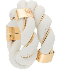 bottega veneta oversized twisted wraparound bracelet - white