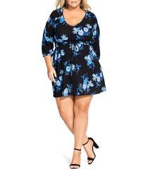 plus size women's city chic indigo floral tunic dress