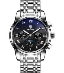 reloj, relojes mecánico automático de acero del-negro