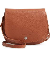 longchamp small le foulonne leather crossbody bag - brown