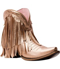 lane boots spitfire fringe bootie, size 6 in rose gold metallic leather at nordstrom