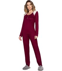 pijama vincullus manga longa vinho