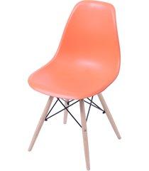 cadeira dkr polipropileno e base de madeira lawang – laranja