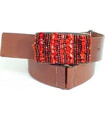 cinto teodora's 100% couro fivela bordada bordado vermelho - tricae