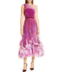 women's marchesa notte one-shoulder tulle cocktail dress, size 10 - purple
