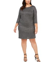 jessica howard plus size houndstooth sparkle shift dress