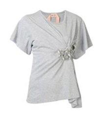 nº21 camiseta com aplicação de laço - cinza