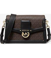 mk borsa a spalla jessie media in pelle con logo - marrone/nero (marrone) - michael kors