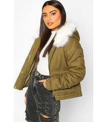 faux fur trim pocket detail parka, khaki