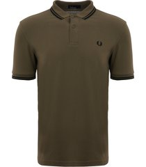 fred perry olive & black m3600 twin tipped polo shirt m3600-g26