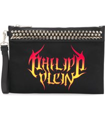 philipp plein flame logo-print clutch - black